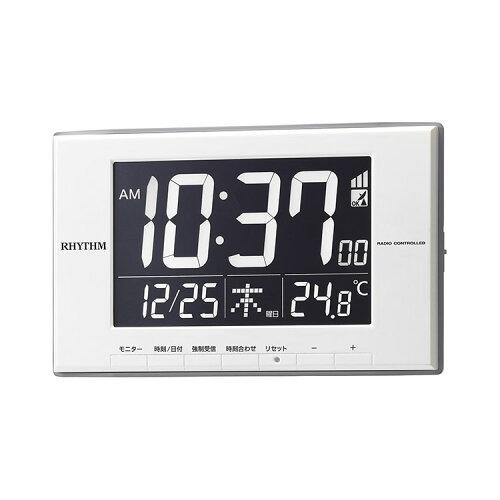RHYTHM 電波壁掛け置き兼用時計 ルーク デジットD209 8RZ209SR03 デジタル カレンダー 温度計 リズ...