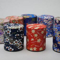 プチギフトお茶ギフトミニ缶素敵な和紙缶2本入「白川茶」