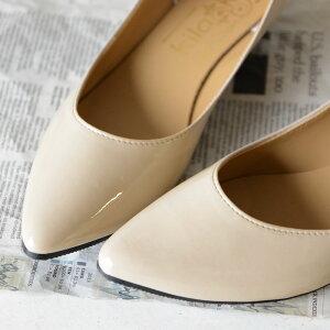 【kilakila*キラキラ】【大きいサイズ対応S〜4L(26.0cm)】日本製(国産)●ポインテッドトゥパンプスカラバリローヒールエナメル美脚通勤フラットシューズコーラルピンクグレージュブラックマルサラカーキモカ痛くないレディース靴