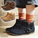 【kilakila*キラキラ】ブーツ レディース ショートブーツ ファー ボア ローヒール 痛くない インヒール ぺたんこ 歩きやすい 疲れにくい 黒 ブラック ベルト ふわふわ もこもこ おしゃれ かわいい レディース靴