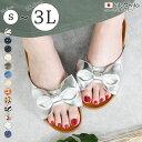 【kilakila*キラキラ】サンダル レディース フラットシューズ リボン ローヒール 日本製 りぼん 歩きやすい 疲れにくい 飾り ボーダー ドット おしゃれ かわいい レディース靴