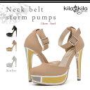 送料無料【kilakila*キラキラ】ブロックデザインがおしゃれ♪アンクルストラップの美脚ハイヒールパンプス。ブラックはパーティ・結婚式・二次会にもぴったりのサンダルは痛くないレディース靴