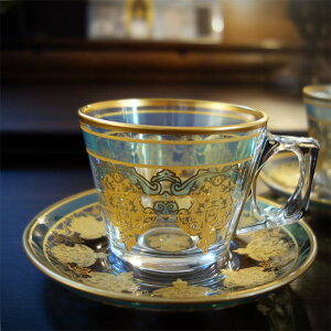 ティーカップ 耐熱ガラス トルコ チャイグラス 耐熱ガラス カップ カップソーサー ゴールド トルコ 雑貨 トルコ お土産 プレゼント ギフト