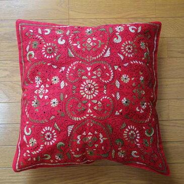 【訳あり】【ゆうパケット発送】インド刺繍クッションカバー 40×40インド綿 クッションカバー/クッションカバー アジアンインド雑貨