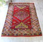 トルコ絨毯・オールドカーペット・エリアラグ/ケッレ250×174cmチャナッカレ/階段状のメダリオン・明るいレッド