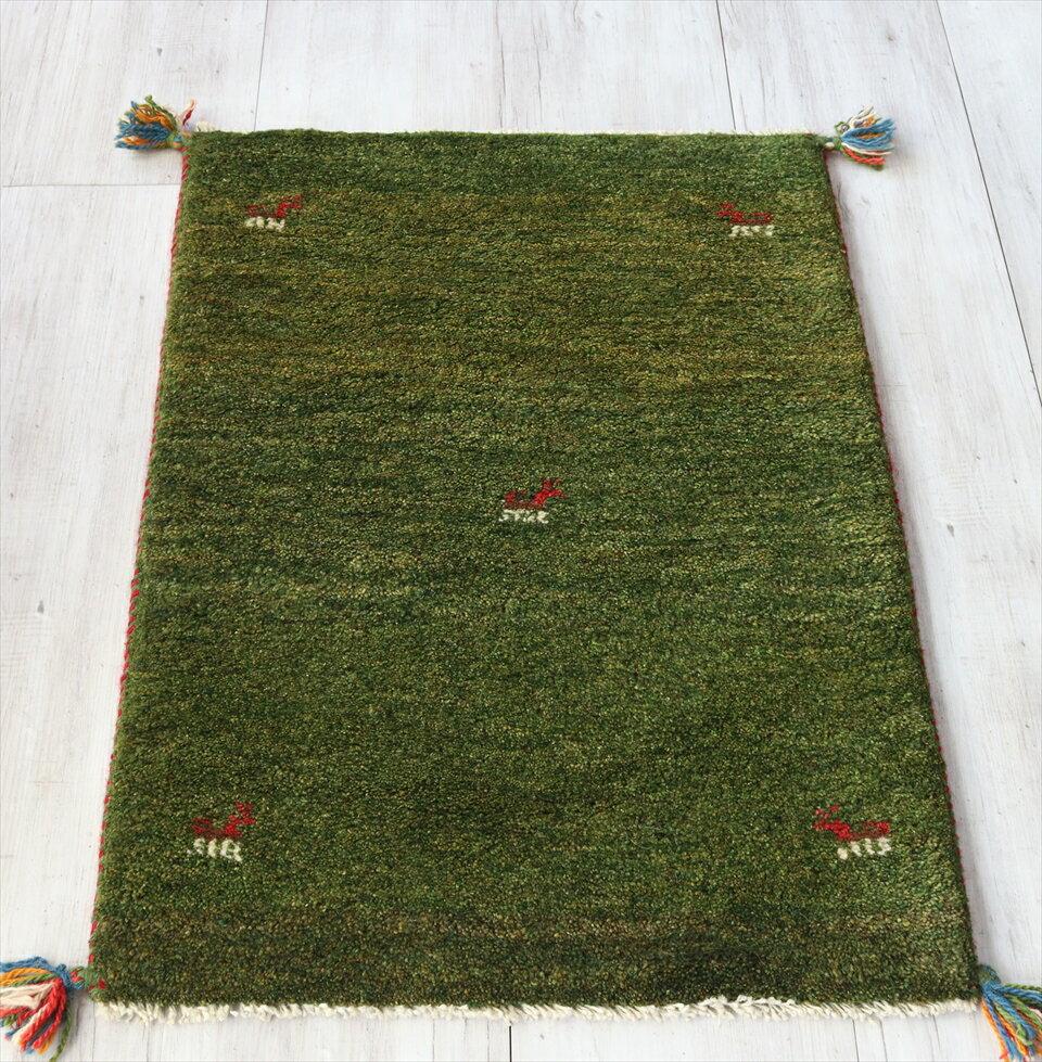ギャッベ/ふかふかスタンダード玄関マットサイズ88x61cmグリーン動物モチーフ