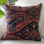 オールドキリムクッションカバー50cm角サイズ Turkish Vintage kilim 刺繍のようなスマック織り・コーカサス地方