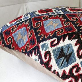 キリムクッションカバー50cm角・トルコ手織りキリム/ヴィンテージ・オールドKilimCushion連なるエリベリンデのモチーフ/レッド&ブルー