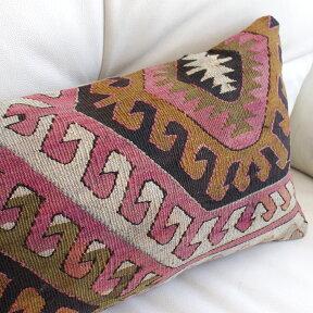 オールドキリムクッション【中綿付】長方形・枕型・ミニサイズ46×29cmアンティーク/アイドゥン・Aydin/ドラゴンの爪