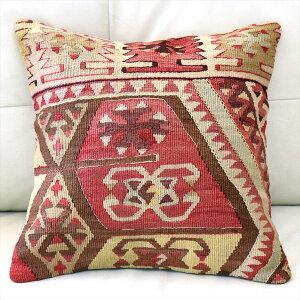 Old Kiilim Cushion オールドキリムクッションカバー40cmアダナ(Adana)/チフカナット オオカミの足跡のモチーフ