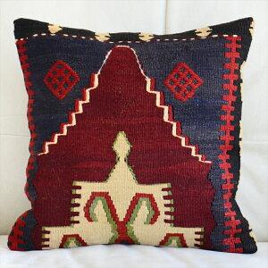 キリム クッション カバー 40cm 角 トルコ 手織り / ヴィンテージ ・ オールド Kilim Cushion赤いダイヤのジジム・ひし形メダリオン