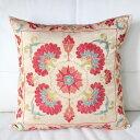 クッションカバー50cm角 ウズベキスタンスザンニ suzani シルクの手刺繍鮮やかな赤い花模様