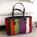 オールドキリムと革のバッグ・カーゴトートカラフルペルデのパッチワーク/トルコ製