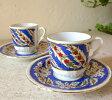エスプレッソ・デミタスコーヒーカップ&ソーサー珍しい小さめ椀皿トルココーヒー用2客セット:すずらん/トルコお土産