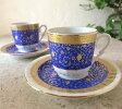 エスプレッソ・デミタスコーヒーカップ&ソーサー珍しい小さめ椀皿トルココーヒー用2客セット:ゴールデンホーン/トルコお土産