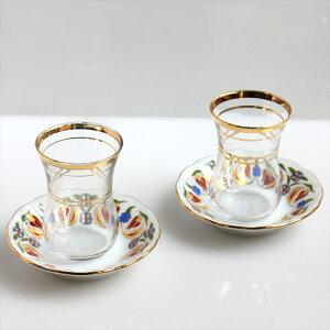 チャイグラス(チャイバルダック)2客セット Cay Bardag, Turkish Tea /赤いチューリップ