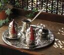 トルココーヒー銅製カフェタイムセット・シルバー 【トルコお土産】