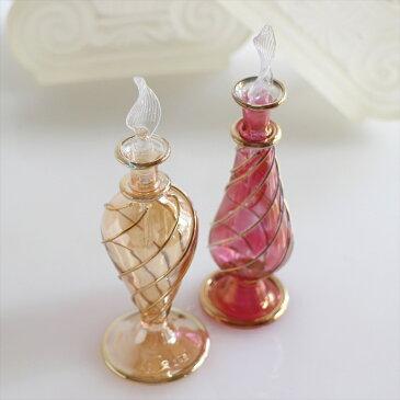 エジプトガラス香水瓶 ・ゴールドライン 2本セット Egyptian Purfume Bottleイエロー/レッド