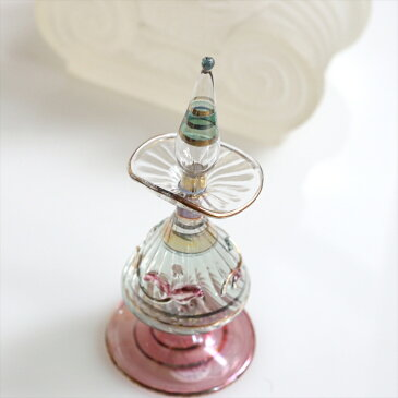 細工が美しいKey Life社の香水瓶/エジプト・ガラスボトル変形デザイン・オプティック