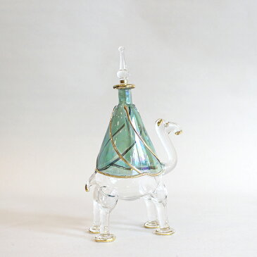 エジプト香水瓶 Egyptian Purfume Bottle 手吹きガラスの工芸品/ラクダ1頭 グリーン