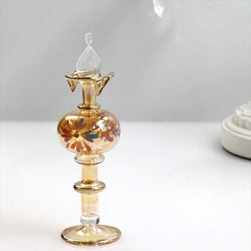 エジプト香水瓶 Egyptian Purfume Bottle14.5cmハンドペイント/イエロー・手吹きガラスハンドメイド工芸品【エジプトお土産】