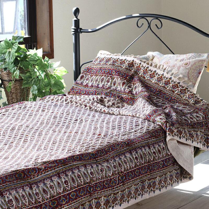 ガラムカールペルシャ更紗240cm長方形 アンティークデザイン・手染め布イラン製ベッドカバー・ソファカバー・マルチカバー