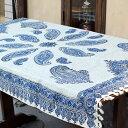 ガラムカールペルシャ更紗150cm長方形 ブルー系ペイズリー柄 マルチカバー/テーブルクロス