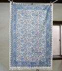 ペルシャ更紗・ガラムカール長方形150cmサイズ・手染め布イラン製ブルー系フラワー柄マルチカバー/テーブルクロス