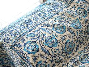 ガラムカールペルシャ更紗240cm長方形ブルー系フラワー柄ベッドカバー・ソファカバー・マルチカバー・アイデアでいろいろ使えるオリエンタルな手染め布