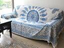 ガラムカール・ペルシャ更紗(イラン・手染布)280cmサイズ長方形ブルー系ペイズリー柄・コットンマルチカバー/ソファーカバー&ベッドカバー