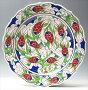 トルコ・キュタフヤ陶器手書き絵皿30cmチューリップ