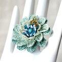 トルコのレース「オヤ」リング(指輪)・手編みレースの花グラデーション・トルコブルー