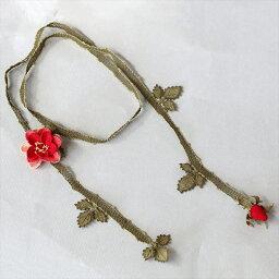 イーネ・オヤ バラの花のラリエット トルコ伝統のシルクレースネックレス/ レッド&サーモンオレンジ
