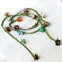 イーネ・オヤカラフルな花のラリエットネックレス/トルコ伝統のシルクレース