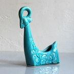 イラン・ハマダーン 青の陶器/ペルシャ陶器・伝統工芸 Persian Ceramic Art Hamadan pottery博物館レプリカ・ランプ/羊の置物