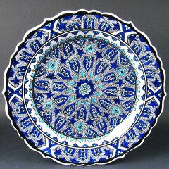10周年感謝セール★15%OFFトルコ・キュターヤ陶器 手描き絵皿30cmプレート イズニックデザイン