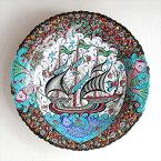 トルコ・キュターヤ陶器・手描き絵皿40cmプレートチャナッカレの帆船
