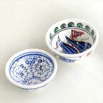 トルコ製ボウル2個セット・手書きキュタフヤ陶器7.5cmアイボリー&ネイビー/チャナッカレ(トロイ)の船