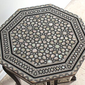 MotherofPearlエジプト螺鈿の工芸家具・サイドテーブル・オクタゴン・組み立て式