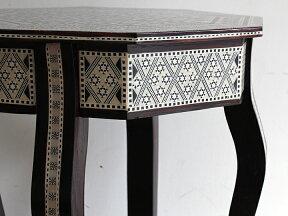 螺鈿家具MotherofPearlエジプト螺鈿の工芸家具・サイドテーブル・オクタゴン・組み立て式【10P10Jan15】