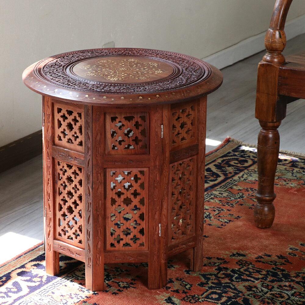 木彫りの木製テーブルラウンド・シーシャムウッドテーブル・折りたたみ式 Mサイズ Seasham Wood Table Msize 直径46cm×高さ46cm
