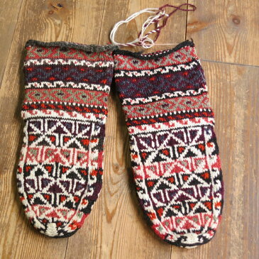 アンティーク・手編みウール靴下/バクティアリ族ブラウン&オレンジ/伝統柄18cm