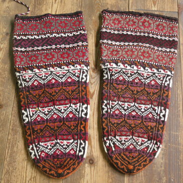 アンティーク・手編みウール靴下/バクティアリ族ブラウン&オレンジ/伝統柄/27cm