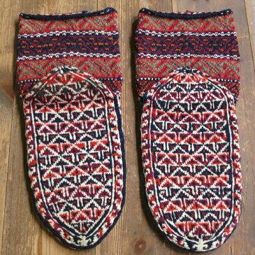 アンティーク・手編みウール靴下/バクティアリ族オレンジ&ブラウン/伝統柄/24cm