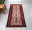 トルコ手織り絨毯 ヤージベディル ランナー179×78cmアイボリー&レッド 幾何学モチーフ