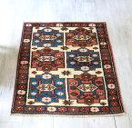 オールドラグ・チャナッカレ トルコ手織り絨毯/チェイレキ112×87cm6つのひし形モチーフ
