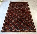 コルディ・グチャン族の手織り絨毯/トライバルラグ278×163cm連なるひし形のモチーフ