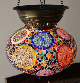 大型照明パレスランプ・ガラスペンダントランプ1灯/トルコ製モザイクランプカラフルサークルデザイン