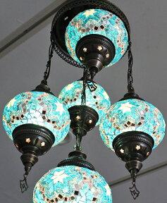 トルコランプ/モザイクガラスランプシャンデリア5灯段違い・ホワイト&カラー10W×5灯