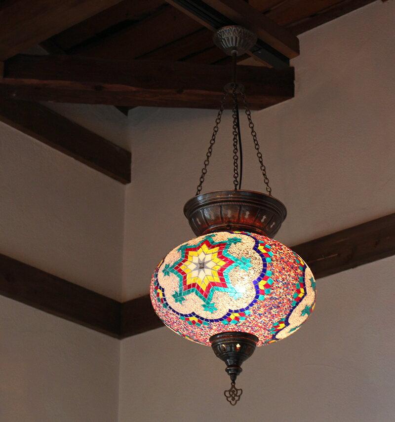 トルコランプ/大型照明・パレスランプ・ガラスペンダントランプ1灯/直径36cm/カラフル&ホワイトスターE1725wミニクリプトン電球